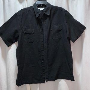 Claiborne Black Mens Short Sleeve Shirt